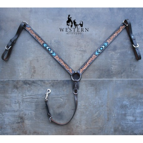 COLLIER DE CHASSE TURQUOISE CROSS WEAVER LEATHER